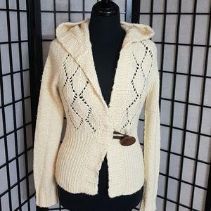 Free People Cream Knit Cardigan Sweater Hood